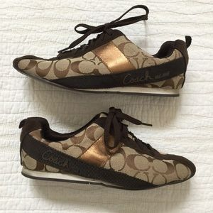 Coach Hadley Signature Sneaker in Brown and Copper